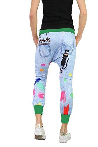 si moda Pantalón - Tiro Caído - para Mujer Verde