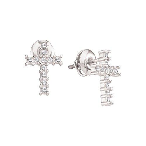 10kt White Gold Womens Round Diamond Roman Cross Religious Stud Earrings 1/10 Cttw (Earrings Diamond Studs Cross)