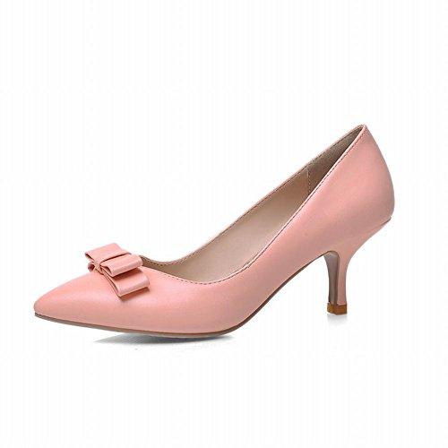 Carol Schoenen Chic Dames Elegantie Bogen Puntschoen Manchet Stiletto Mid Hak Jurk Bruids Schoenen Roze