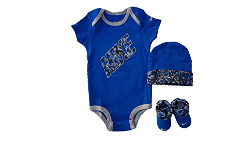 Nike Baby 3-Piece Bodysuit, Hat & Booties Set, Size: 0-6 Months (Royal Blue (6001) / White/Grey/Black)