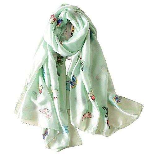 Alice Women Classy Silk Gorgeous Butterfly Print Long Scarf Shawls Wraps Mint Green