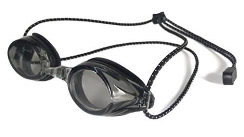 Resurge Sports Anti Fog Racing Swimming Goggles with Quick Adjust Bungee Strap (Black)