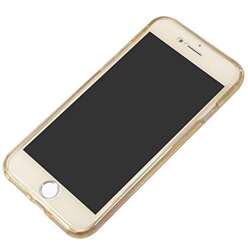 IPhone 6S Funda para Teléfono Móvil, SevenPanda iPhone 6 4.7 pulgadas PROTECCIÓN RUNDUM Ultra Delgada 360 grados Negro Cuerpo Completo Táctil Caso Piel Celular Caja Cristal Transparente Accesorios par Bling - Oro