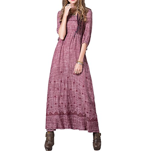 Kurzarm Maxi Damen Rosa Retro A Partykleid LHA8207 Kleider Kleid Linie DISSA wAEOgSxqW
