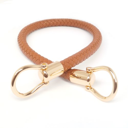 Camel 13mm Width DIY Handbag Accessories Braided Pu Leather Purse Handles Handbag Straps Detachable Buckles Length 23.6 Inches