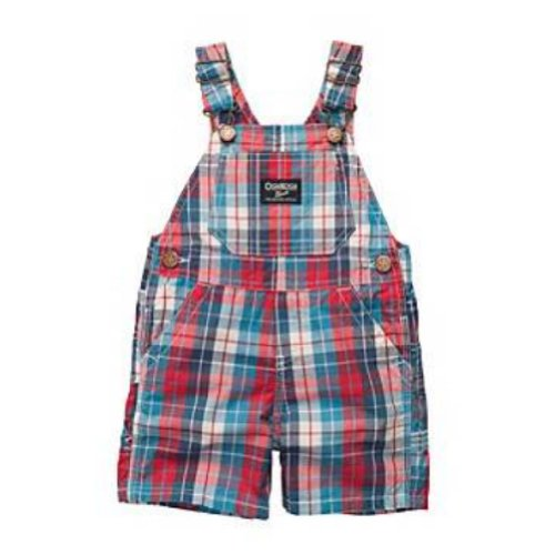 Osh Kosh Bgosh Infant Boys Blue & Red Plaid Shortall Overall Shorts 24m