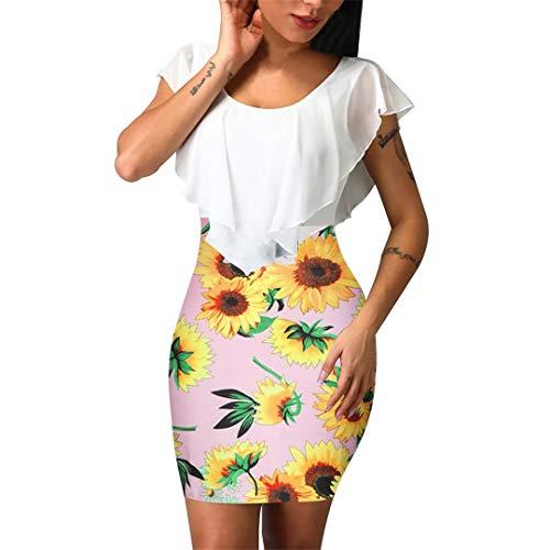 XVSSAA Ladies Sunflowers Print Bodycon Bag Hip Dress, Ladies Solid Color Ruffle O-Neck Sexy Beach Dress Pink (Knit Ruffle Edge)