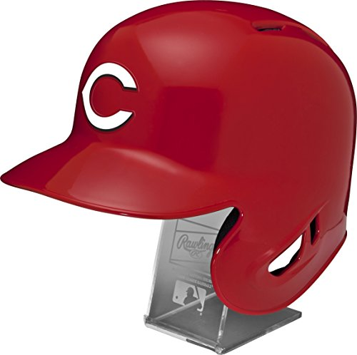 Cine Stand (Rawlings MLB Cincinnati Reds Replica Batting Helmet with Engraved Stand, Official Size, Red)