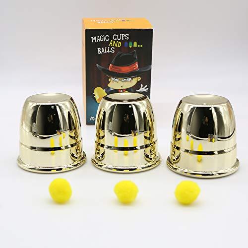 Magic Cups And Balls - Kingmagic Classic Magic Tricks Cups and Balls Magic Kits Close Up Magic Toy Height 7.8cm
