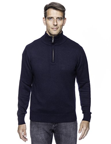 Tocco Reale Men's Cashmere Blend Half Zip Pullover Sweater - Navy - (Cashmere Half Zip Sweater)