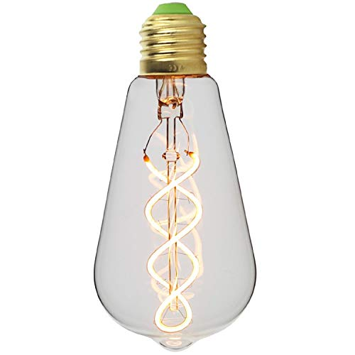 ST64 bombilla Edison gota Vintage doble espiral curvado transparente de filamentos LED 4 W regulable 220/240 V E27 Base, luz bombilla HAINING TECHFAN ELECTONIC CO. LTD