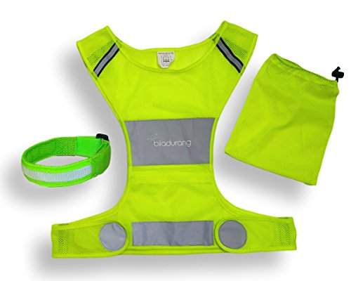 Ultra Light Reflective Running Vest for Running or Cycling High Visibility Safety Vest - Adjustable Lightweight Gear with storage Pocket - Including Reflective Band - Gear for jogging, Biking, Walking (Project Jacket Fit Athletic)
