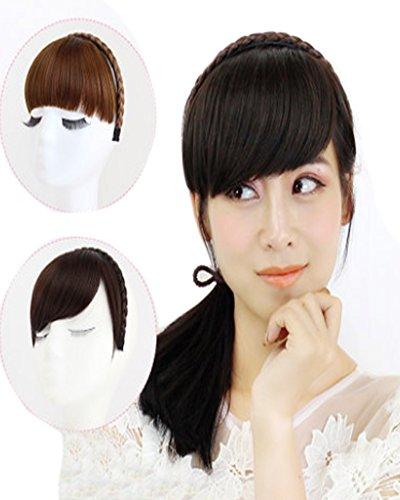 BarRan Fashion One Piece Headband Neat Plaited Braid Hair Extensions Bands For Girl Women (Side-swept Fringe, Dark Brown)