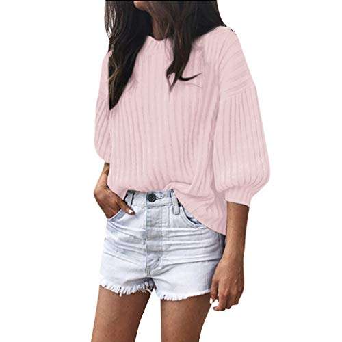 (ANJUNIE Women Solid Cashmere O-Neck Sweater Loose Knitted 3/4 Latern Sleeve Inter Warm Wool Pullover (Pink,5XL))