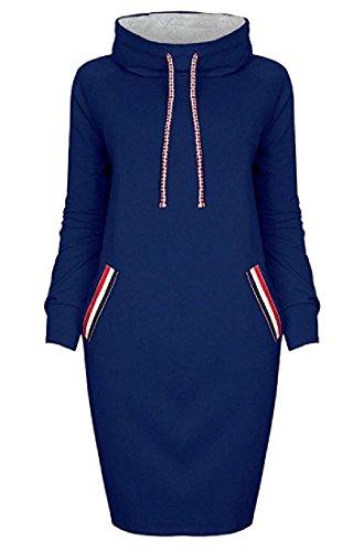 Confortables Femmes Spell Couleur Haute Paquet Cordon De Serrage Poches Cou Robe De La Hanche Bleu Royal