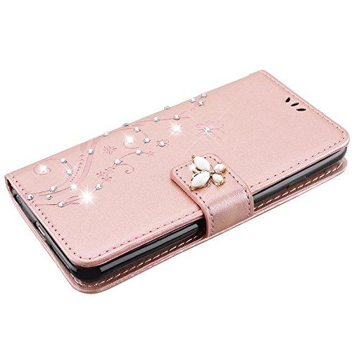 iPhone 6 Plus / iPhone 6s Plus Hülle, Yokata Flip Rose Gold Case Vintage PU Leder Bookstyle Blumen und Bling Diamant Schmetterlinge Motiv Case mit Weich Silikon Backcover Schutzhülle Dünne Standfunkti