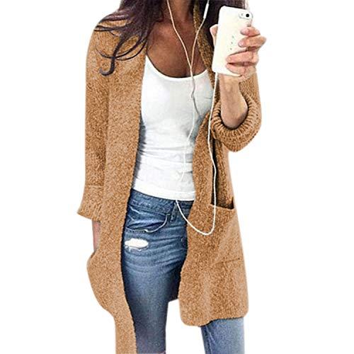 Couleur Hiver Unie Pull Kaki Élégant Petalum Chaud Sweaters Chandail Femme Manteau Manches Casual Longues Poche Tricoté Automne qpwPZRv