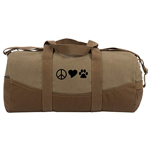 Tone Peace Sign - Peace Sign Heart Dog Paw Print Two Tone 19� Duffle Bag with Brown Bottom