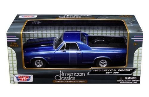 New 1:24 W/B AMERICAN CLASSICS COLLECTION - BLUE 1970 CHEVROLET EL CAMINO SS 396 Diecast Model Car By MOTOR (1970 Collection)