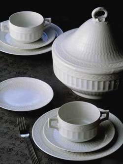 Flower Porcelain Creamer (Royal Copenhagen White Fan - Sugar Bowl with Handles)