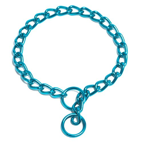 Platinum Pets 2-1/2mm Coated Chain Dog Collar 22-Inch, Caribbean Teal, My Pet Supplies
