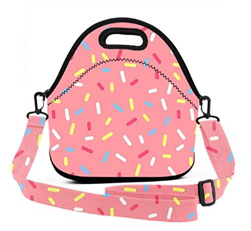 BesArts Lunch Bag - Donut Pink - Neoprene Reusable Lunch Tote with 3D Digital Print Adjustable Shoulder Straps, Lunch Box Handbag for Kids and Adults