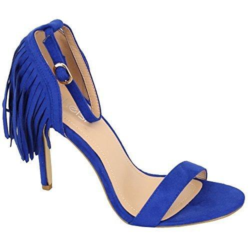 Ladies Sandals Kelsi Women Tassels Suede Look High Heel Open Toe Shoes Party New Blue - KL02