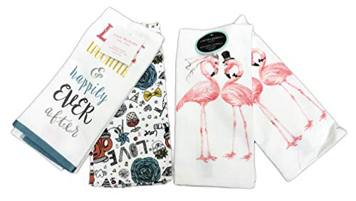 Cynthia Rowley and Isaac Mizrahi Love Laughter & Happily Ever After Flamingo Bride & Groom Bundle of Two Sets Kitchen Hand Towels