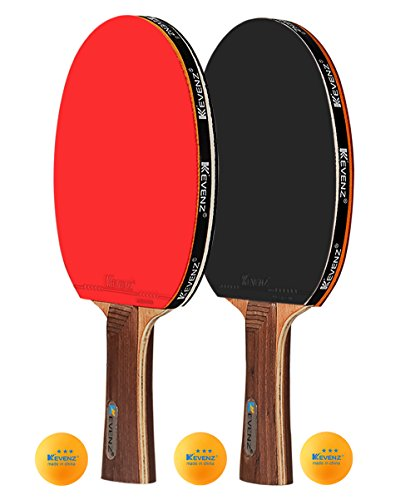 Find Bargain 2-Pack KEVENZ 4-Star Pro Table Tennis Racket- 7 ply Wooden Blade Ping Pong Paddles (2-P...
