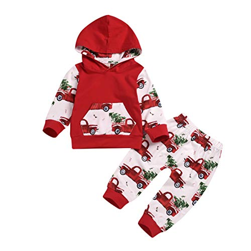 ZOELNIC Baby Girls Boys Christmas Outfit Hooded Pocket Tops + Plaid Pants Clothes Set (Red 2, 6-12m(80))
