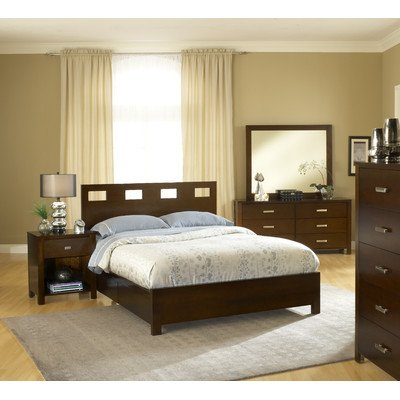 - Riva Storage 5 ;piece Panel Bedroom Collection Size: Queen in Chocolate Brown