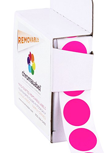ChromaLabel 3/4 inch Removable Color-Code Dot Labels | 1,000/Dispenser Box (Fluorescent Pink)
