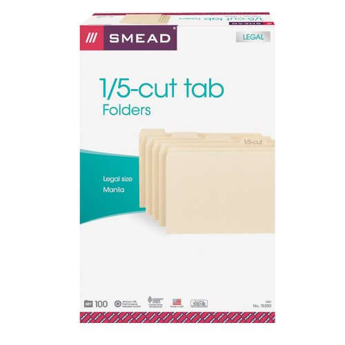 Smead File Folder, 1/5-Cut Tab, Legal Size, Manila, 100 Per Box (15350) -