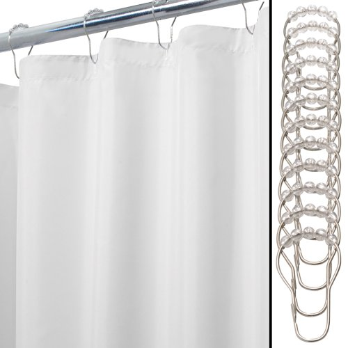 picture of InterDesign Mildew-Free Water-Repellent Fabric Shower Curtain and Rings Set, 54-Inch by 78-Inch, White