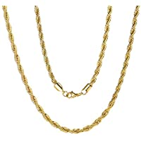 ChainsPro 3/6 MM Collar SOGA de Mujeres, Braided Twist Rope Chain, Cadena Trenzada Cuerda Acero Inoxidable Plateado…