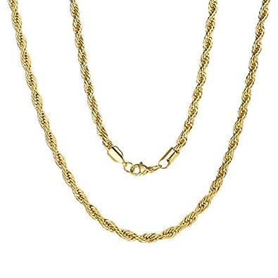 ChainsPro 3 MM Cadena de SOGA Twist Rope Chain Collar Trenzado Acero Inoxidable Plateado/Dorado/Negro Joyería de Moda para Hombre y Mujer Estilo Punk ...