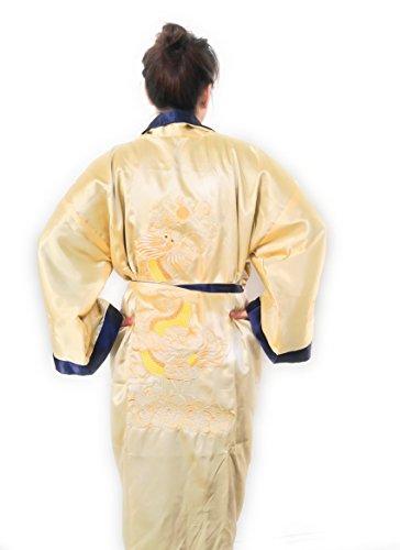THY COLLECTIBLES Unisex Reversible Silk Satin Robe Kimono Relaxation Bathrobe Dragon Embroidered Night Gown (Gold, Asian XL = US L)