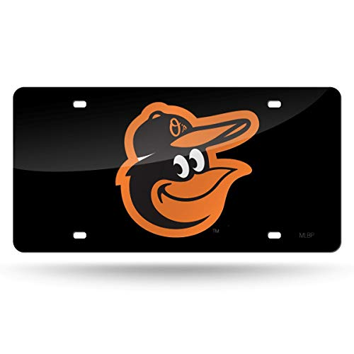 Baltimore Orioles Premium Black Laser Cut Acrylic Inlaid License Plate Mirrored Tag Baseball