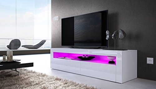Helios 157 contemporary tv cabinets for living room / tv stand with LED lighting system / Color white and white (Small White Tv Cabinet)