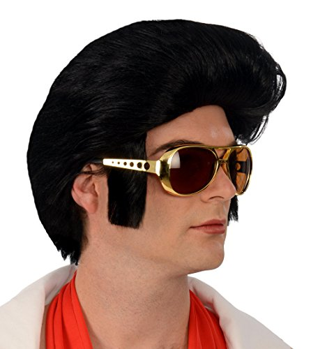 [Kangaroo Costume Wigs; 1960s Rock 'n Roll Black Wig;] (Elvis Impersonator Costume)