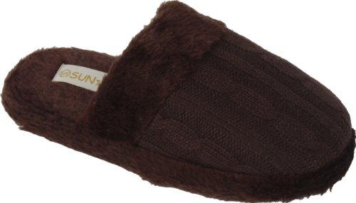 Nieuwe Indoor Fall / Winter Slippers Voor Dames Met Gebreide Look Medium Bruin