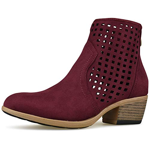 ShoBeautiful Women's Chunky Ankle Boots Perforated Cut Out Stacked Block Casual Back Zipper Booties DY01 Burgundy
