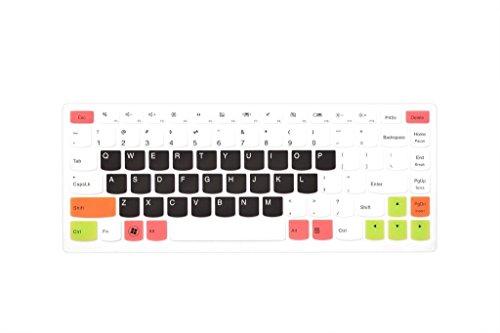 Leze - Ultra Thin Keyboard Skin Cover for Lenovo IdeaPad U310,U400,U410,U430,S400,S415,Yoga 13 14,Yoga 2 13,Yoga 900,Yoga 700 14 Laptop - White Black (Yoga 2 Keyboard Cover 13)