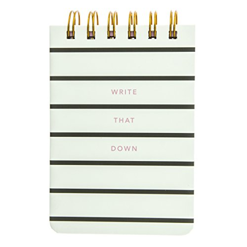 Graphique Write That Down Petite Journal - Pocket Journal with 200 Custom Interior Pages, Black and White Striped Cover with