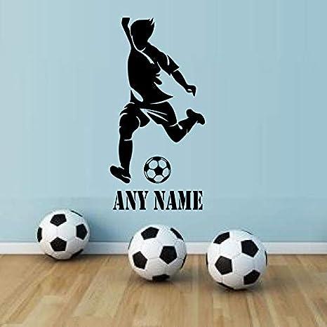 Ajcwhml Nombre Personalizado para niños Nombre Arte de la Pared Pegatinas Jugador de fútbol Vinilo removible Deporte Tatuajes de Pared Decoración para el hogar Adolescentes Boy Room 42X85C: Amazon.es: Hogar