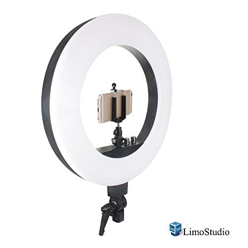 LimoStudio 18 Inch 240 LED Ring Light, 3200 To 5600 Kelvin Adjustable, Dimmable Brightness Control and Cell Phone Holder Clamp Clip, Flash Bracket Shoe Mount Adapter, AGG2041 by LimoStudio