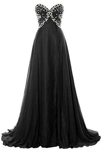 MACloth Women Strapless Prom Dress Crystals Chiffon Long Formal Evening Gown Negro