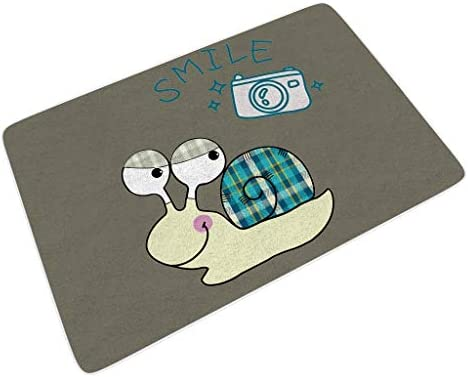 yjduop Inside Outside Welcome Barrier Mats Dirt-Trapper Floor Lovely Animal Snail Large Size Backing-Non Slip Decorative Mats Rug Mats White 24×35 inch