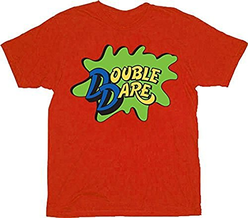 Double Dare Logo Costume Red Adult T-shirt (Adult (Family Double Dare Costume)