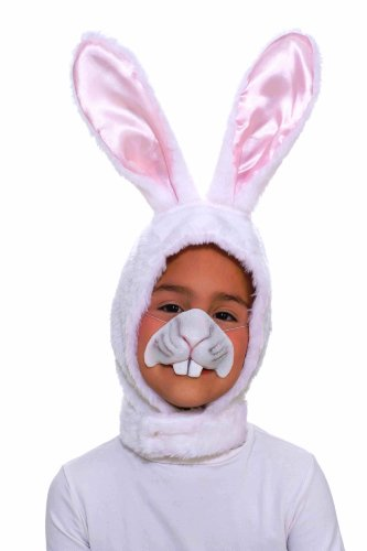 [Forum Novelties Child Size Animal Costume  White Bunny Hood and Nose Mask] (Child White Rabbit Costume Alice In Wonderland)